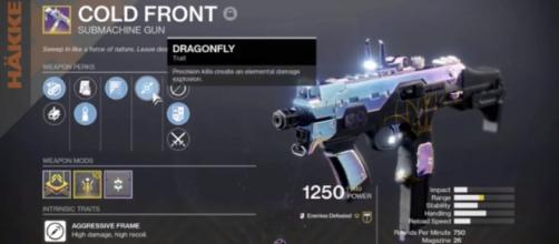 Cold Front is the only Kinetic weapon right now in the 'Destiny 2' that has the Dragonfly perk. [© LegionGp/YouTube]