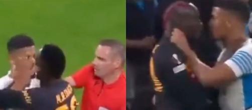 Saliba et un joueur de Galatasaray proches de se battre. (Crédit Twitter)