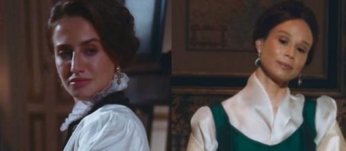 Leopoldina e Luísa em cenas de 'Nos Tempos do Imperador' (Reprodução/TV Globo)