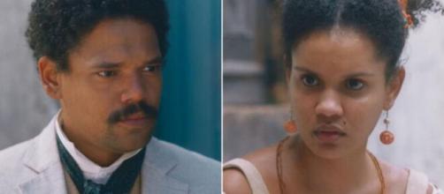 Samuel e Zayla em 'Nos Tempos do Imperador' (Fotomontagem/Reprodução/TV Globo)