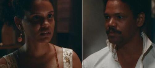 Zayla e Samuel em 'Nos Tempos do Imperador' (Fotomontagem/Reprodução/TV Globo)