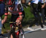 Tadej Pogacar impegnato al Giro di Lombardia.