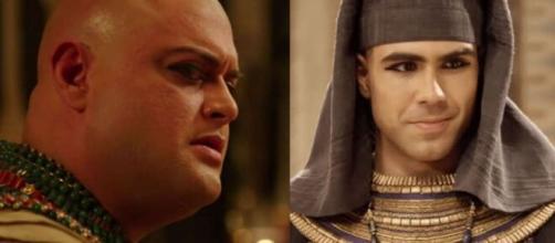 Adurrá e José em 'Gênesis' (Fotomontagem/Reprodução/Record TV)