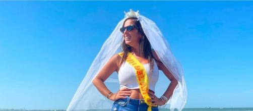 Anabel Pantoja entró a la boda acompañada de su sobrino Albertito (Instagram, anabelpantoja00)