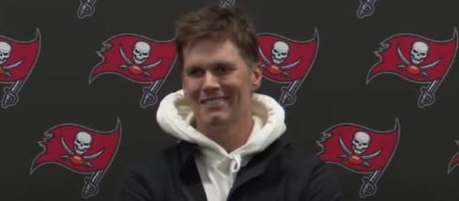 Brady and Patriots head coach Bill Belichick met after the game (Image source: Tampa Bay Buccaneers/YouTube)