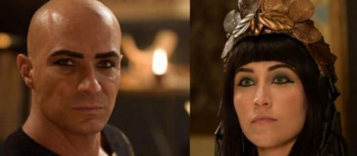 O rei e a 1ª rainha em 'Gênesis' (Fotomontagem/Reprodução/Record TV)