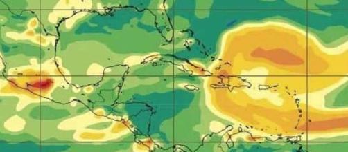 Gráfico de la llegada de la columna de dióxido de azufre a Cuba del servicio de observación del Centro Meteorológico Provincial de Camagüey.