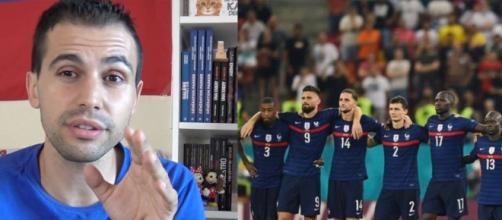 Romain Molina cash sur les additions de certains footballeurs. (crédit YouTube Romain Molina/Twitter équipe de France)
