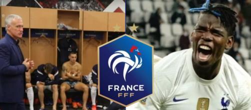 Deschamps et Pogba ont pris la parole dans les vestiaires à la pause de France-Belgique. (crédit Twitter)