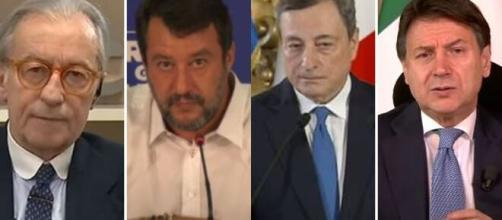 Vittorio Feltri, Matteo Salvini, Mario Draghi e Giuseppe Conte.