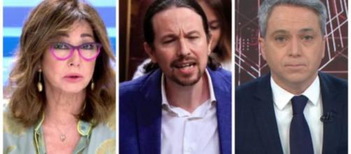 Ana Rosa Quintana, Pablo Iglesias y Vicente Vallés