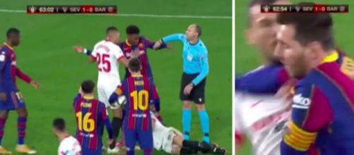 Le violent coup de coude de Messi fait le buzz - © capture d'écran vidéo Twitter