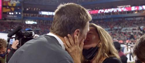 Brady and Gisele celebrate after Bucs bagged Super Bowl LV. [© NFL/YouTube]