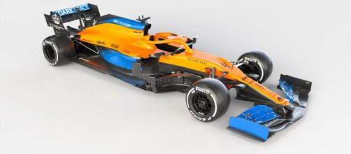La nuova McLaren MCL35M che sarà guidata da Lando Norris e Daniel Ricciardo.