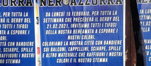La Curva Nord si prepara al derby di Milano tappezzando la città di manifesti.