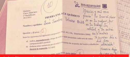Las notas del docente se volvieron virales tras un tuit publicado por la alumna