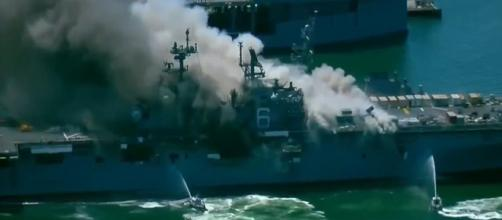 The US Navy estimates that scrapping the USS Bonhomme Richard will cost $30 million. [Image Source: News 19 WLTX/YouTube]