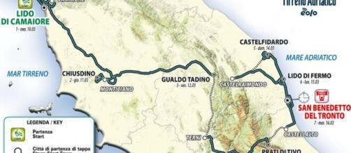 Il percorso della Tirreno - Adriatico 2021.