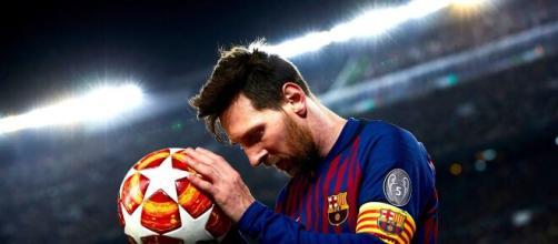Lionel Messi durante un partido de Champions League con el FC Barcelona.