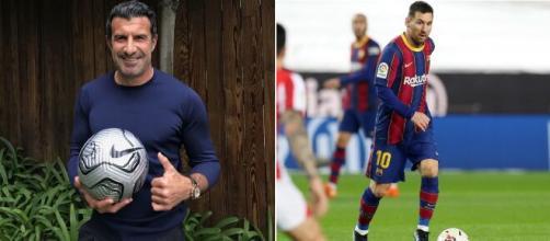 Luis Figo incendie Twitter avec son commentaire sur le salaire de Lionel Messi au Barça. ©Montage Leomessi Instagram