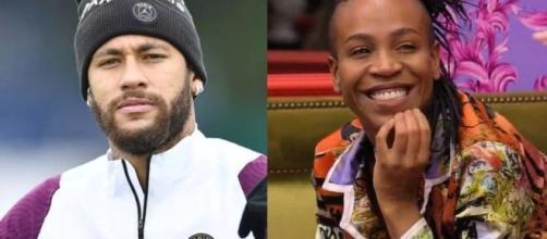 Neymar é contra a sister do 'BBB21'. (Fotomontagem)