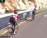 Pogacar e Yates nel finale della terza tappa dell'UAE Tour.