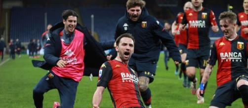 Genoa: Badelj esulta dopo il gol.