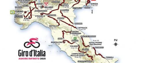 Il percorso del Giro d'Italia 2021