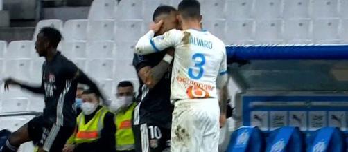 Alvaro et Payet au coeur d'une embrouille pendant OM vs OL. (capture)