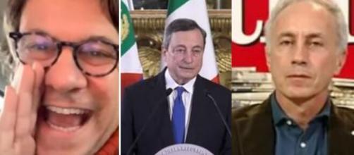 Nicola Porro, Mario Draghi e Marco Travaglio.