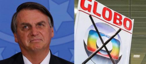 Bolsonaro mostra cartaz com 'Globo lixo'. (Foto: Arquivo Blastingnews)