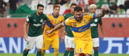 Gignac, artilheiro do torneio com 3 gols, deixou sua marca batendo pênalti contra o Verdão. (Arquivo Blasting News)