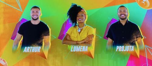 'BBB21': Projota, Arthur e Lumena estão no paredão desta semana (Reprodução/Rede Globo)