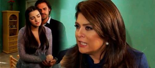 Vitória flagra Alonso e Maria (Fotomontagem/Reprodução/Televisa)
