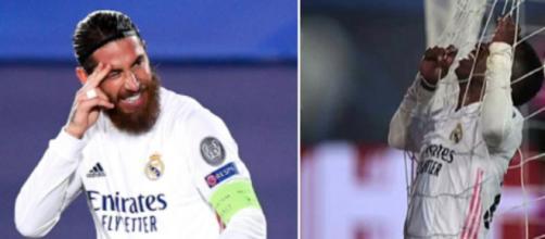 La réaction de Sergio Ramos après un raté de Vini jr. Crédit photo Twitter Actufoot_ et Twitter Marca