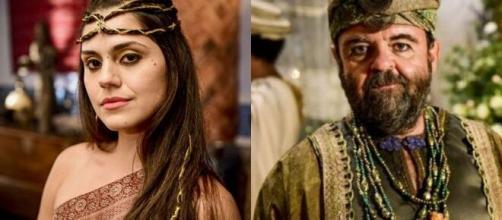 Shakia e Oquedi em 'Gênesis' (Fotomontagem/Reprodução/Record TV)