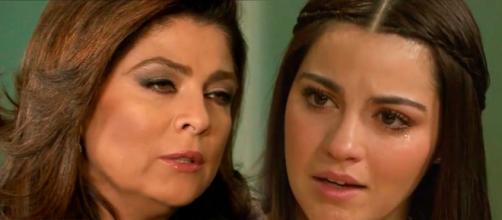 """Vitória faz proposta a Maria em """"Triunfo do Amor"""" (Fotomontagem/Reprodução/Televisa)"""