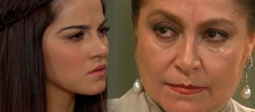 Depois de Vitória, é Bernarda quem quer tomar o filho de Maria (Fotomontagem/Reprodução/Televisa)