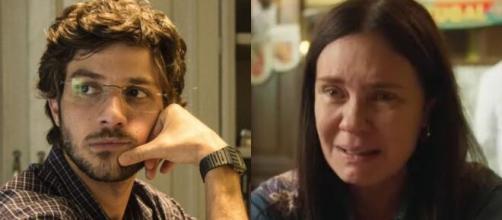 Danilo e Thelma em 'Amor de Mãe' (Fotomontagem/Reprodução/Rede Globo)