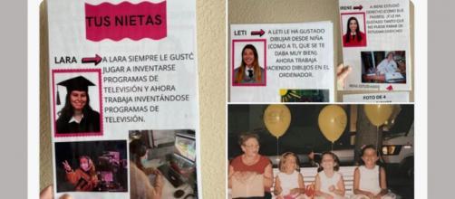 Los cartones con los 'recuerdos' de las chicas para la abuela con demencia senil. (Twitter @LaraLoverss)