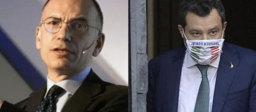 Enrico Letta, segretario Pd e Matteo Salvini