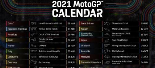 Calendario della stagione MotoGP 2021.