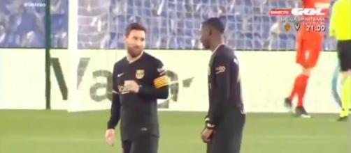 La séquence entre Leo Messi et Ousmane Dembélé fait le buzz - Photo capture d'écran vidéo Twitter
