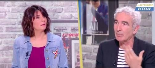 Estelle Denis et Raymond Domenech pas sur la même longueur d'ondes - Photo capture d'écran vidéo