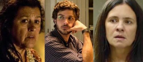Lurdes, Danilo e Thelma vivem impasse em 'Amor de Mãe' (Fotomontagem/Reprodução/TV Globo)