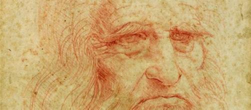 Un dettaglio dell'autoritratto di Leonardo da Vinci.