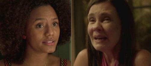 Camila e Thelma em 'Amor de Mãe' (Fotomontagem/Reprodução/Rede Globo)