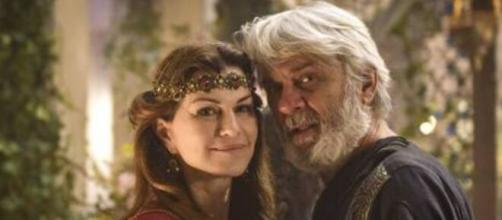 Sara e Abrão em 'Gênesis'. (Foto: RecordTV).