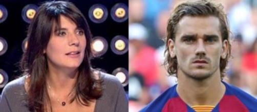 Estelle Denis et Antoine Griezmann au coeur d'un échange insolite sur Twitter. (montage)