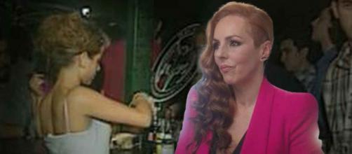 Sonsoles en la barra del pub Brisas de Chipiona y Rocío Carrasco en su docudrama. (Imágenes Telecinco)